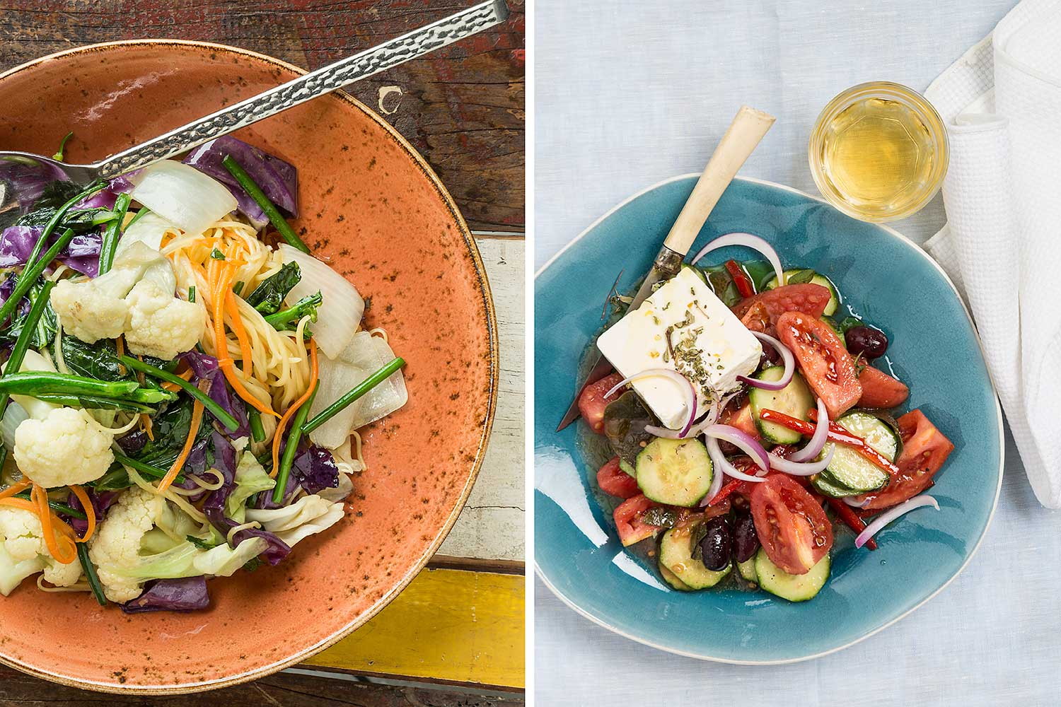 Vietnamese vegetable bowl and greek salad