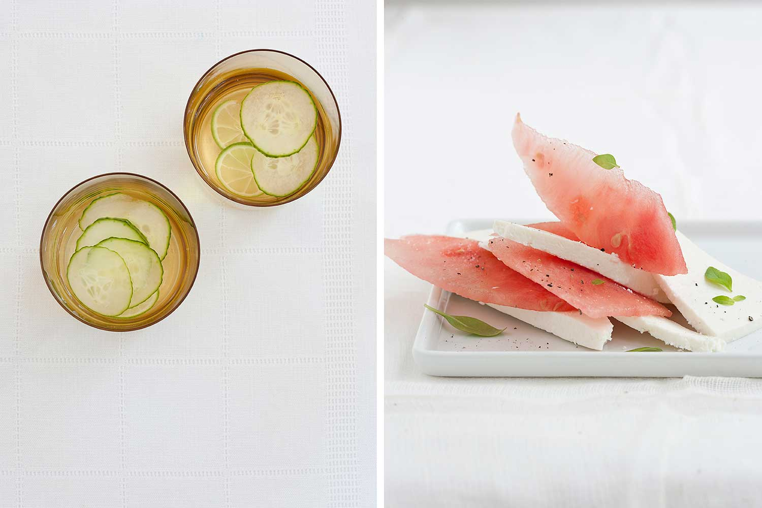 Cucumber water and watermelon slices with cheese