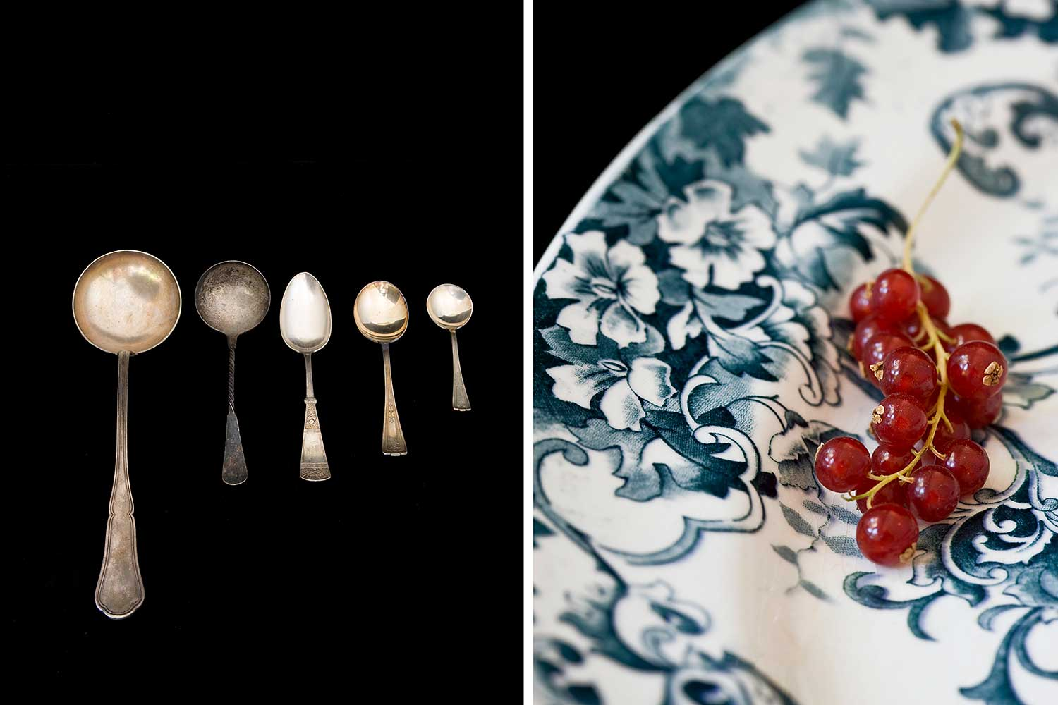 Vintage spoons and plate